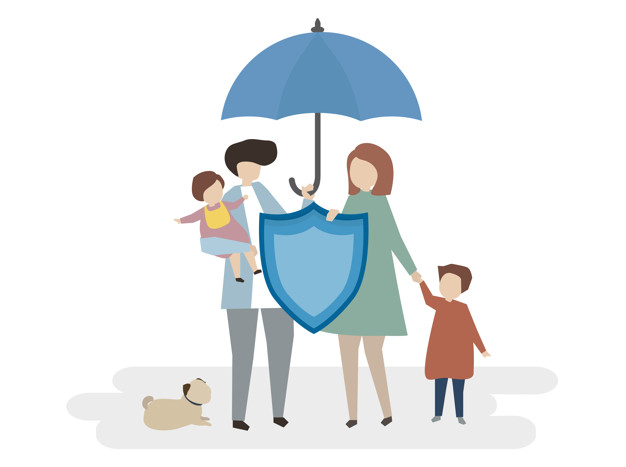 Family under insurance umbrella