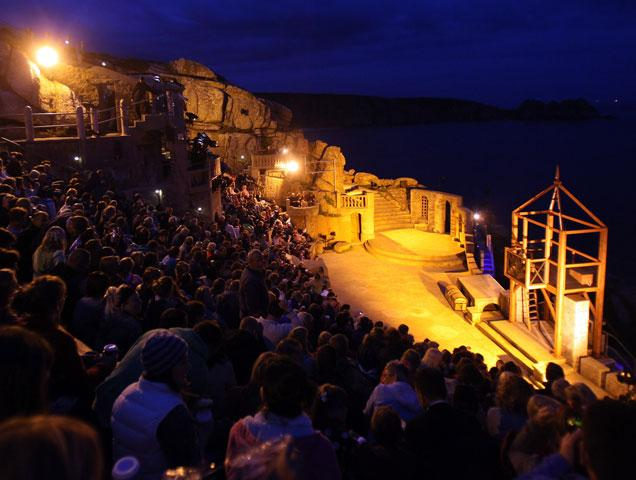 minack theatre at night